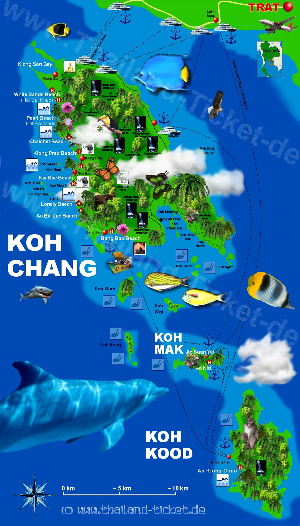 Karte Koh-Chang Island Map