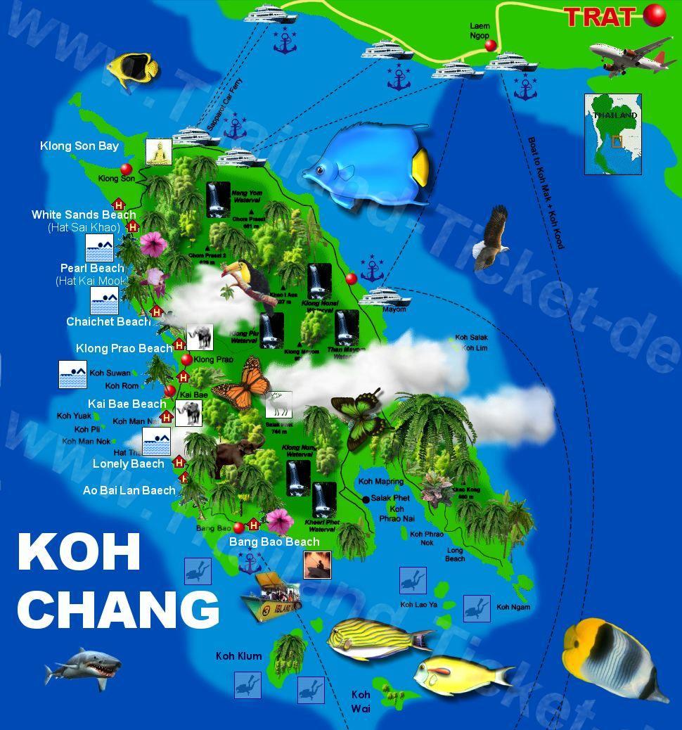 Koh Chang Thailand Map.Thailand Tourismus Thailand Karten Landkarten Strassenkarten