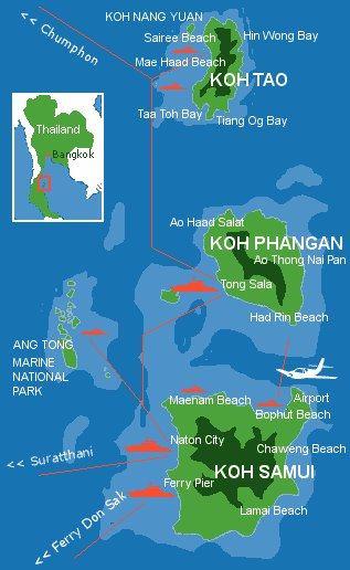 Ko Samui, Ko Phangan, Ko Tao Karte