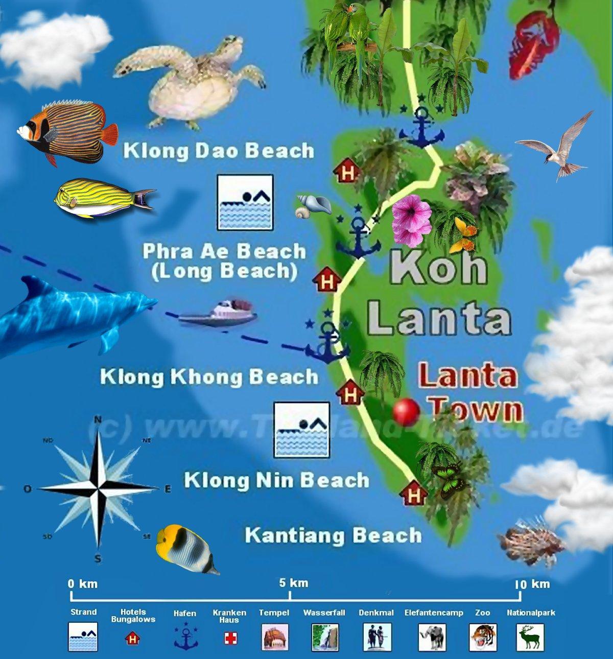 Landkarte Koh Lanta in S�d Thailand