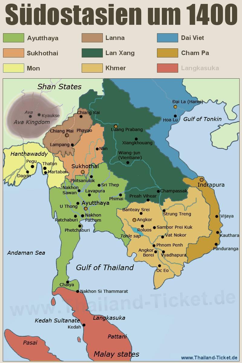 Karte Thailand Kambodscha.Thailand History Map Landkarte Siam Um 1400 Königreich Ayutthaya