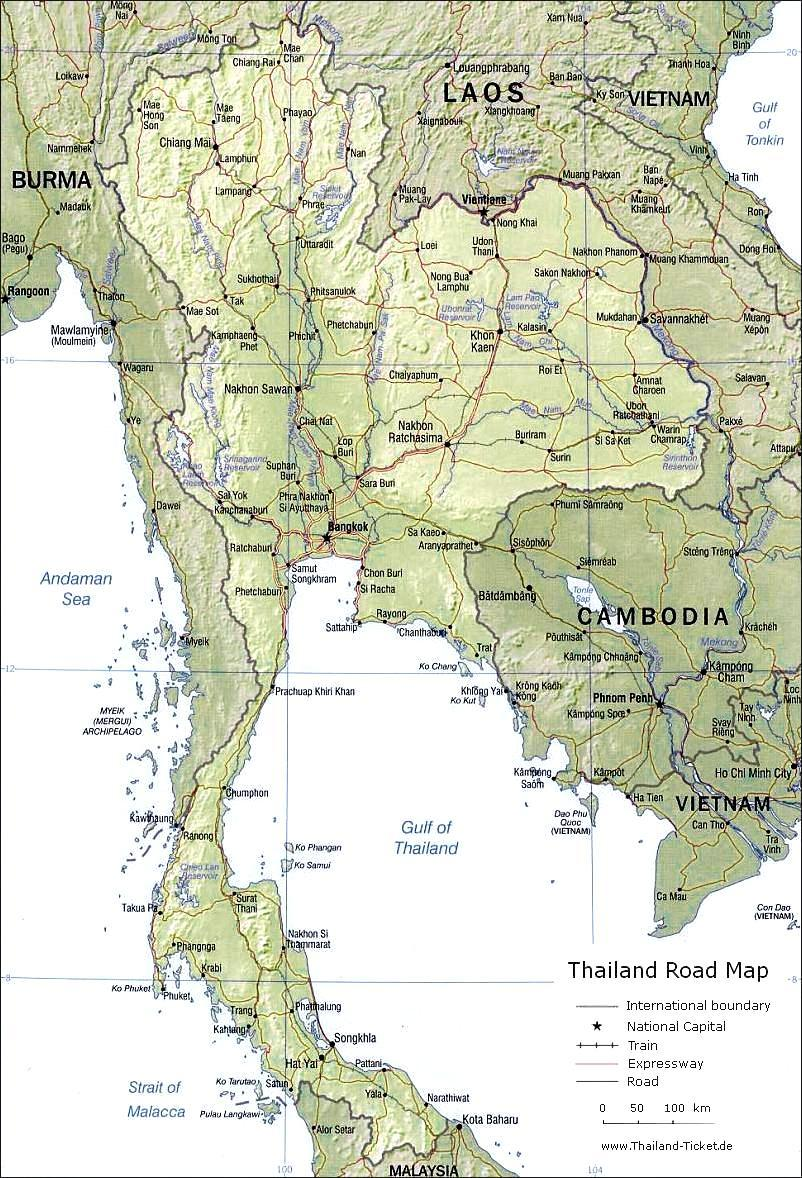 Thailand Karte.Thailand Road Map Thailand Strassen Karte Train Map Straßen Bahn Karte